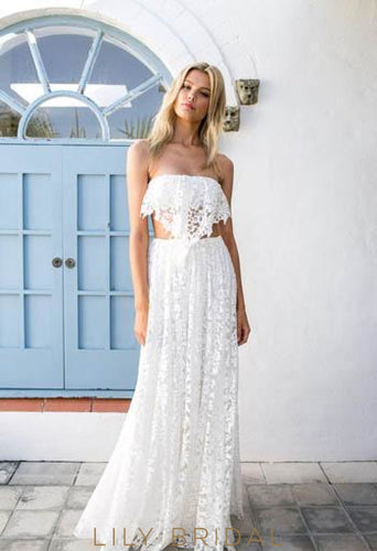Two-Piece Straight Across Neckline Floor-Length Lace Bridal Dress