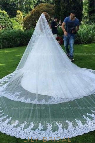 Two Tier Cathedral Bridal Veil With Lace Applique along The Edge