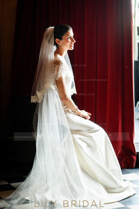 Two Tier Cathedral Bridal Veil With Lace Edge