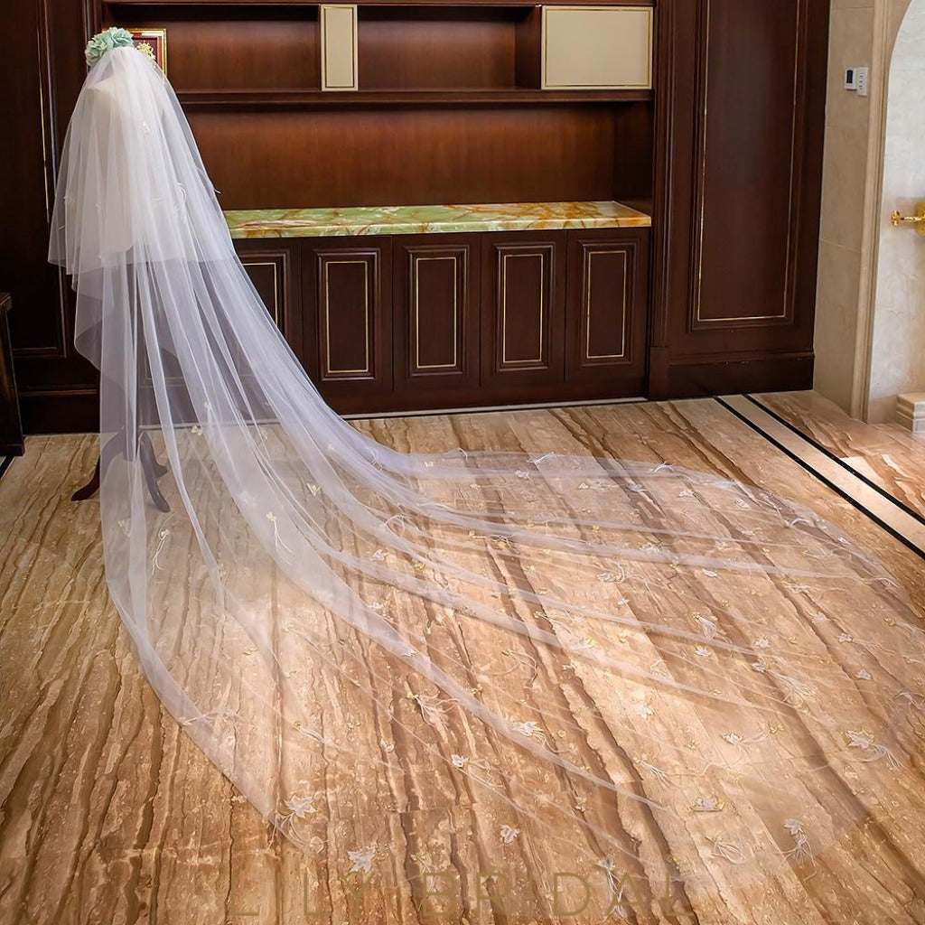 Two Tier Cut Edge Cathedral Veil with Applique & Feather Scattered