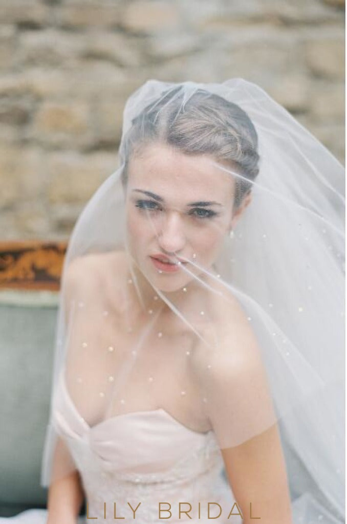 Chapel Weeding Veil with Diamante Scattered