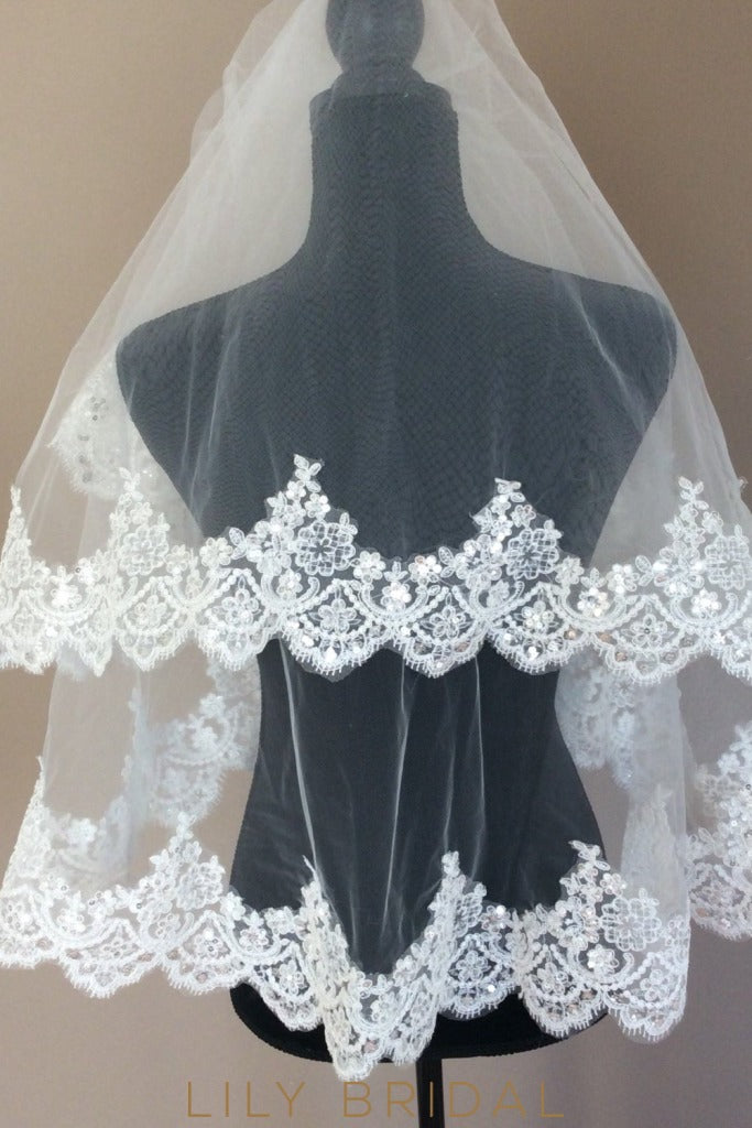 Two Tier Scalloped Edge Wedding Veil with Lace Applique Mounted Sequins