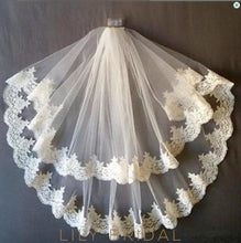 Two Tier Scalloped Edge Wedding Veil with Lace Applique