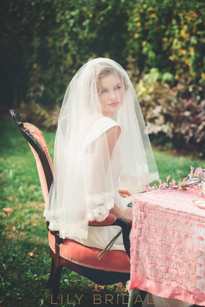 Two Tier Waist Length Veil with Lace Edge