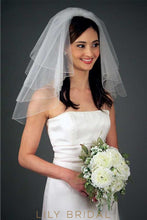 Unique Four Layer Pencil Edge Shoulder Veil With Diamante Scattered