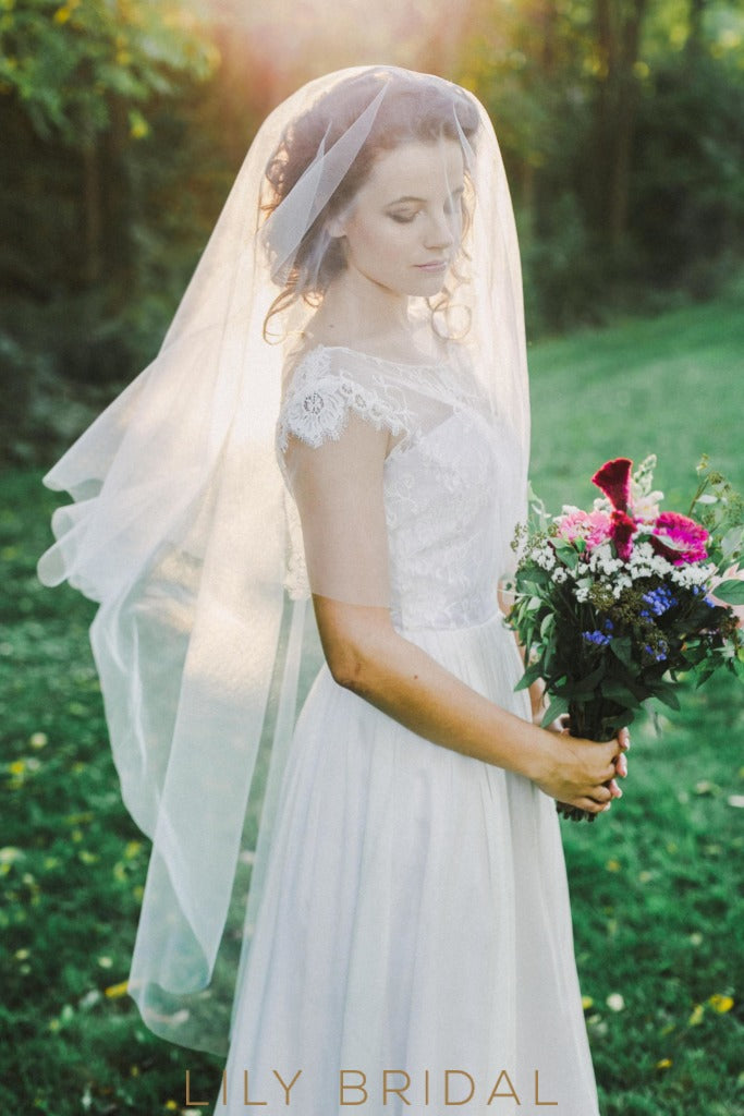 fingertip length bridal veil