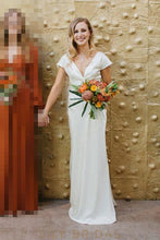 Simple A-line Satin Wedding Dress with Bowtie V-Back Plunging V-Neckline