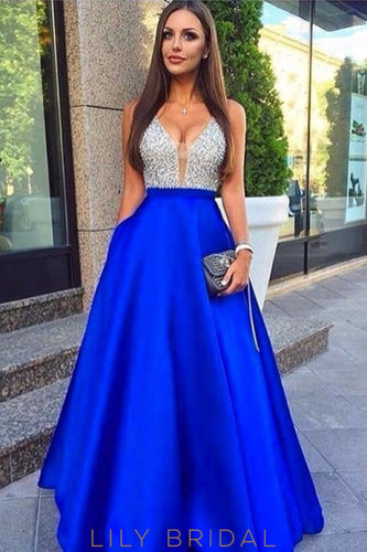V-Neck Backless Floor-length A-line Satin Prom Dresses