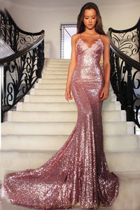 Spaghetti Strap Backless Sexy Sequin Mermaid Prom Dress With Lace