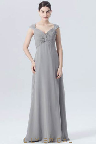 V-Neck Cap Sleeve Empire Waist Ruched Chiffon Bridesmaid Dress With Lace