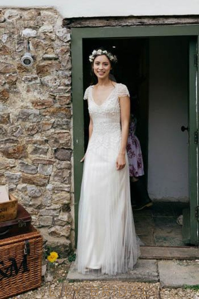 V-Neck Cap Sleeve Floor-Length Rustic Tulle Bridal Dress With Beads
