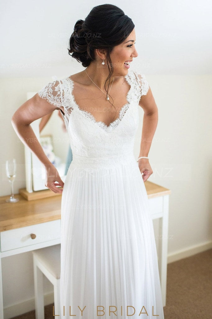 V-Neck Cap Sleeve Floor-Length Tulle Bridal Dress With Illusion Lace Top