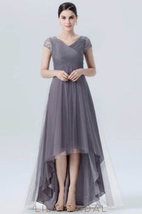 V-Neck Cap Sleeve Tulle Chiffon High-Low Evening Dress With Sequins