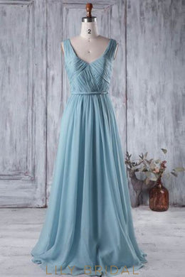 V-Neck Chiffon Sweep Train Bridesmaid Dress With Ruched Bodice