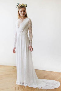 V-Neck Court Train Lace Wedding Dress With Sheer Long Sleeves