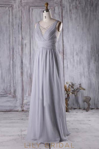 V-Neck Criss-Cross Back Pearl Beaded Chiffon Bridesmaid Dress