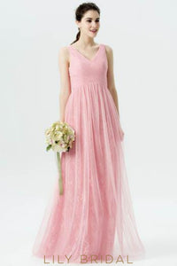 V-Neck Empire Waist Floor-Length Ruched Tulle Bridesmaid Dress With Lace