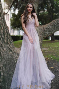V-Neck Empire Waist Tulle Formal Evening Dress