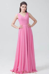 V-Neck Fuchsia Chiffon Bridesmaid Dress With Ruched Bodice & Sash