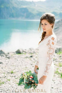 V-Neck Long Sleeve Lace Illusion Mermaid Bridal Dress With Sweep Train