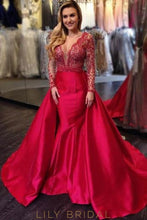 V-Neck Long Sleeve Taffeta Overskirt Prom Dress With Illusion Beaded Bodice