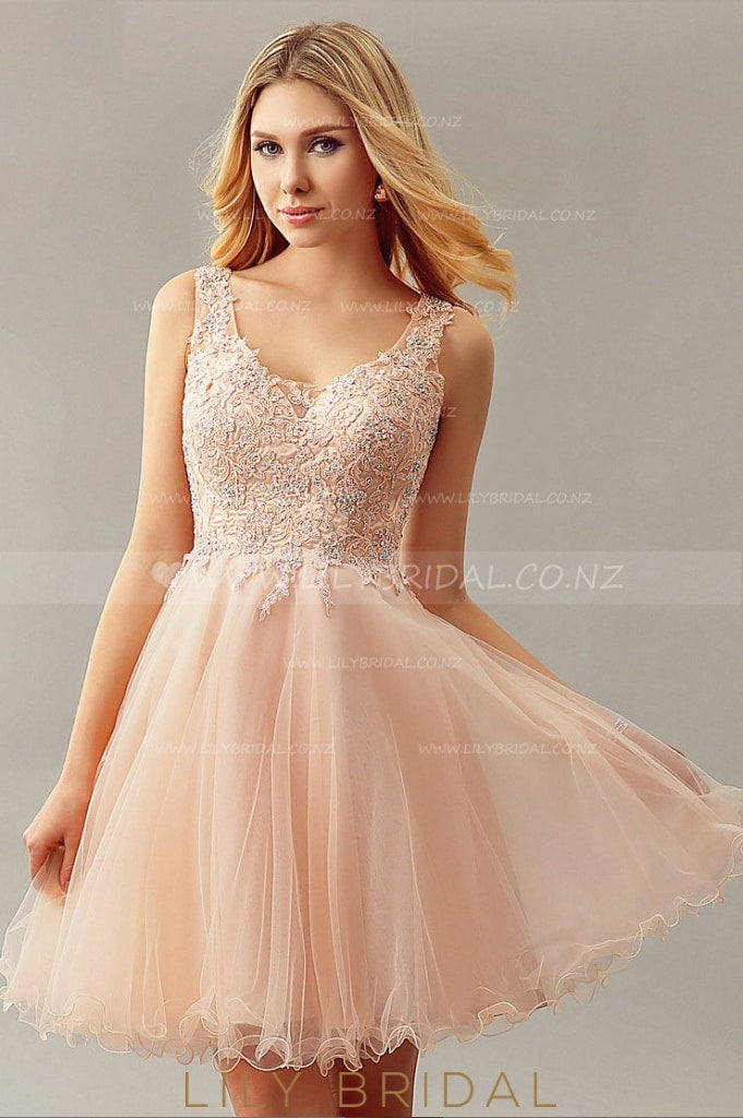 V-Neck Pearl Pink Tulle Cocktail Dress With Beaded Lace Applique