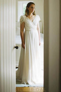 V-Neck Pleated Satin Court Train Wedding Dress With Cap Sleeve