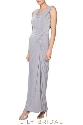 V-Neck Ruched Long Bridesmaid Dress With Cowl Back
