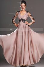 v-neck-sheer-3/4-sleeve-floor-length-chiffon-evening-dress-with-black-sequin-applique