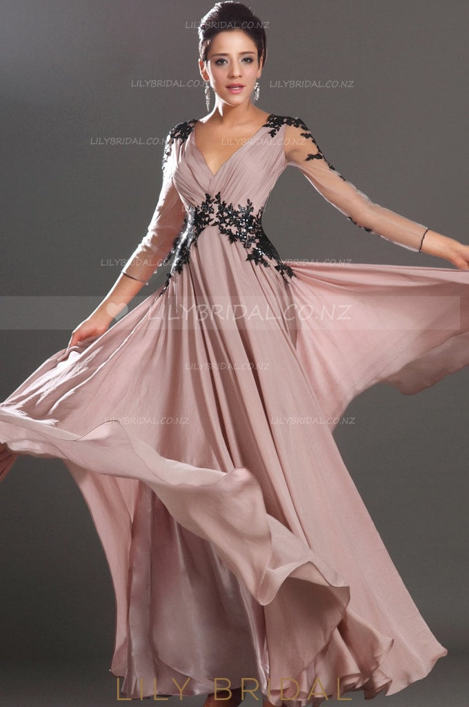 v-neck-sheer-3/4-sleeve-a-line-chiffon-evening-dress-with-black-sequin-applique