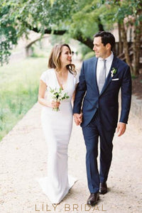 Vintage V-Neck Short Sleeves Long Solid Sheath Wedding Dress with Sweep Train