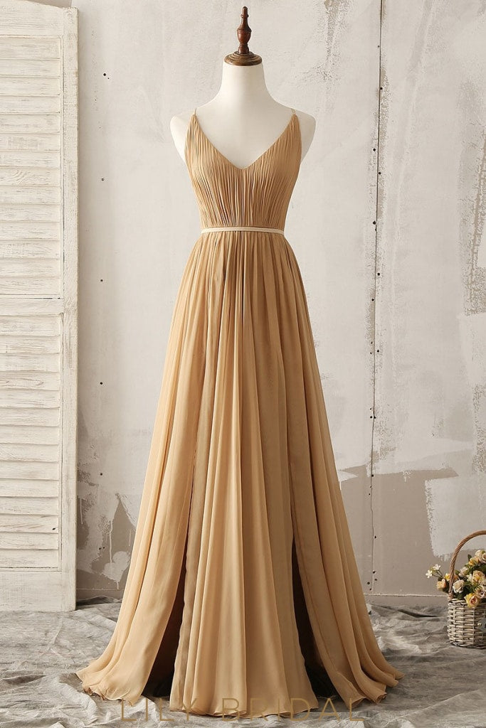 Elegant V-Neck Sleeveless Backless Long Solid Ruched Chiffon Bridesmaid Dress
