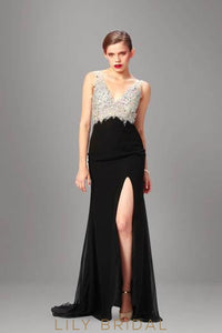 V-Neck Sleeveless Backless Split Chiffon Evening Dress With Beaded Bodice