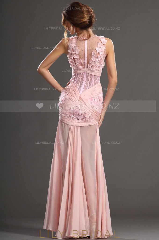 V-Neck Sleeveless Beaded Pink Illusion Chiffon Prom Dress With 3D Flowers