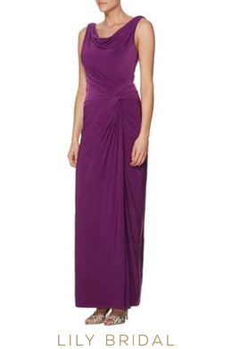 V-Neck Sleeveless Cowl Back Long Bridesmaid Dress With Ruching