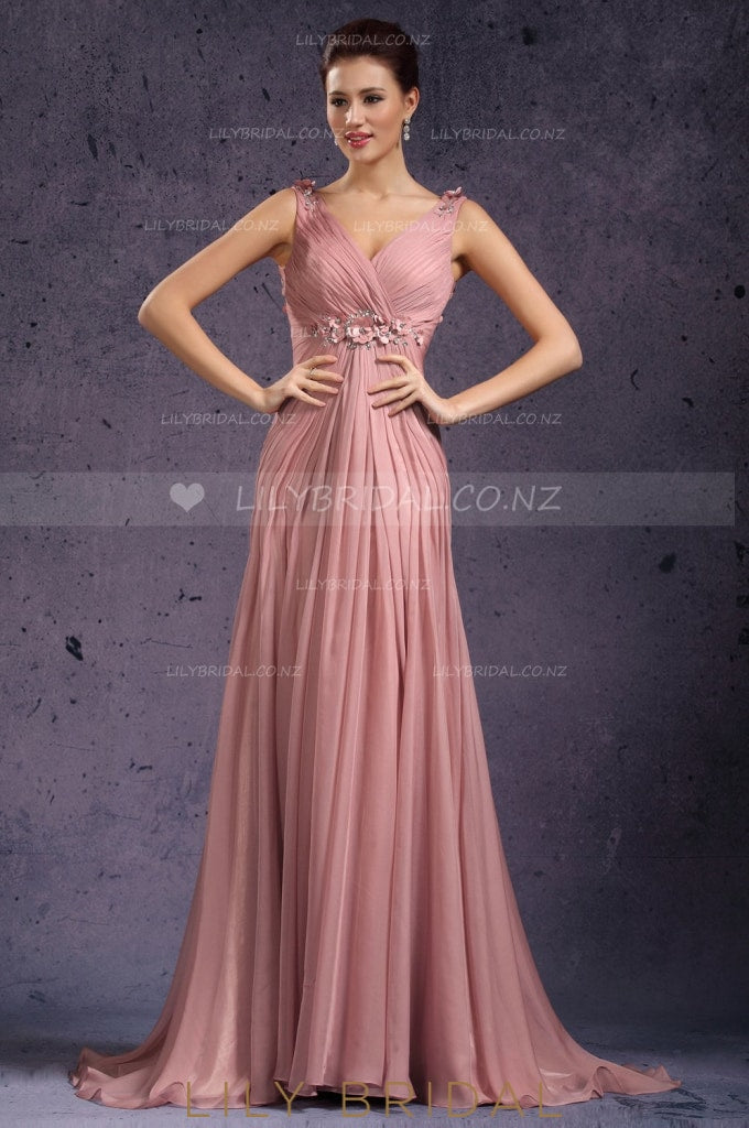 V-Neck Sleeveless Deep V-Back Beaded Chiffon Mermaid Evening Dress With Pleats