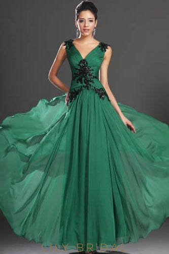 V-Neck Sleeveless Floor-Length Chiffon Evening Dress With Sequin Applique
