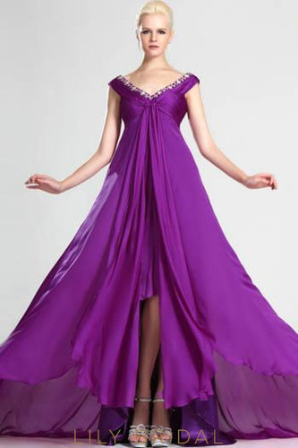 V-Neck Sleeveless High-Low Chiffon Formal Evening Dress With Beads