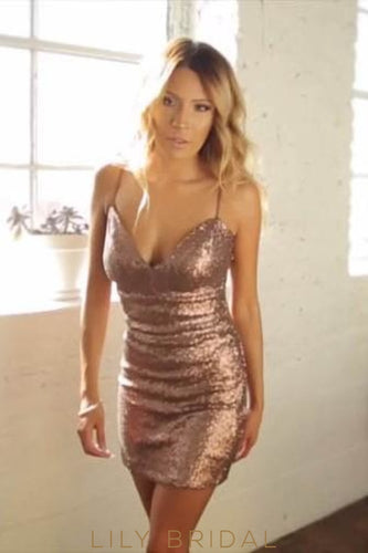 V-Neck Spaghetti Strap Bodycon Short Sequin Prom Dress