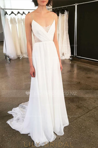 V-Neck Spaghetti Strap Chiffon Bridal Dress With Detachable Tulle Overskirt