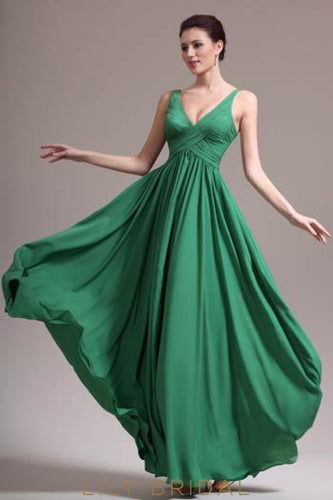 V-Neck Strap A-Line Floor-Length Chiffon Formal Evening Dress With Ruched Bodice