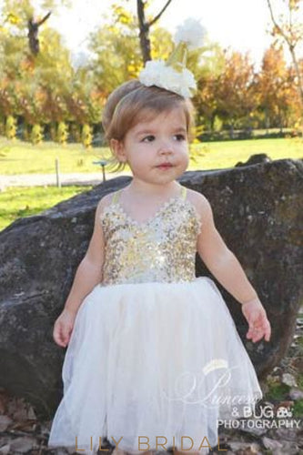 V-Neck Strap Tulle Flower Girl Dress With Sequin Bodice Dresses