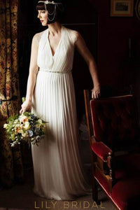 V-Neck Sweep Train Pleated Bridal Dress With Beaded Belt