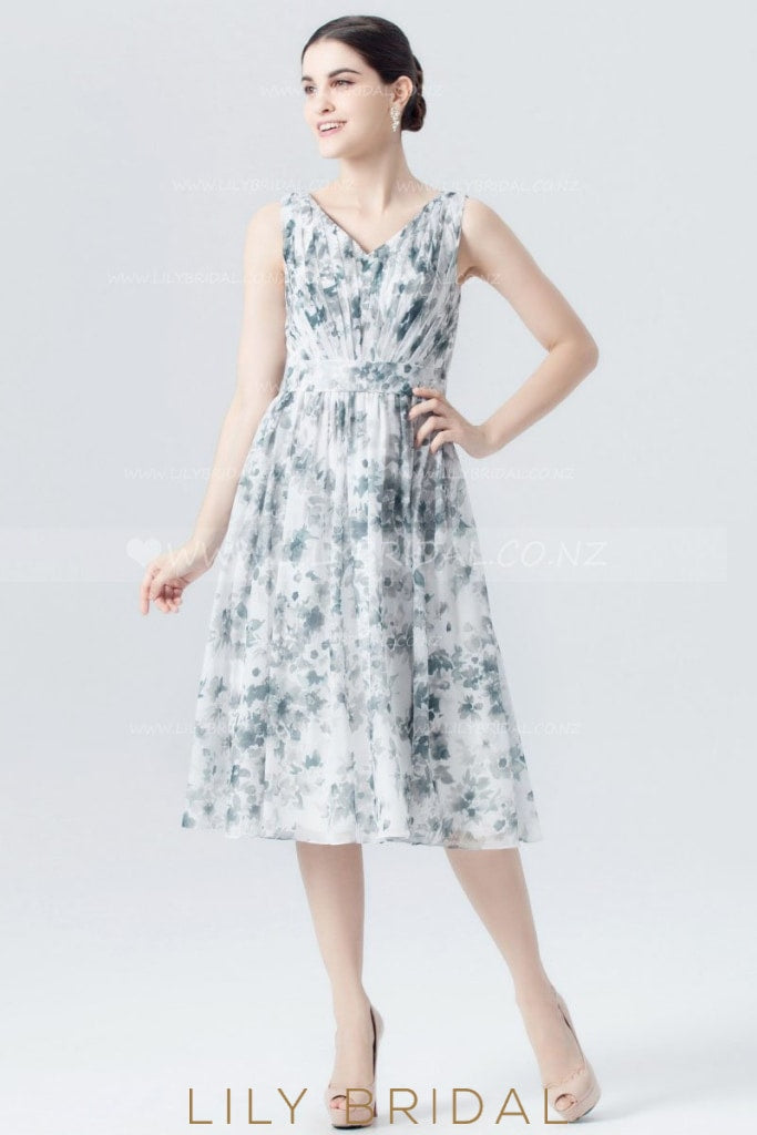 V-Neck White Chiffon Floral Print Cocktail Dress With Ruched Bodice