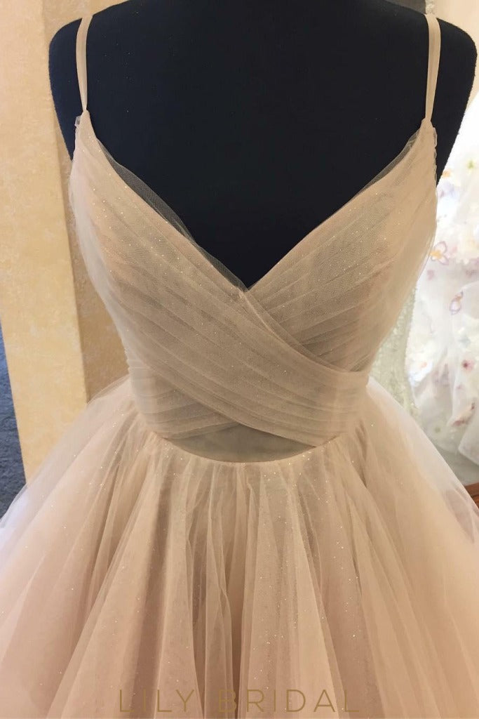 Ivory Wedding Dress Scoop Back Design with Spaghetti Straps Tulle Bridal Ball Gown