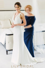 V-Neckline Ivory Sweep Train Mermaid Wedding Dress