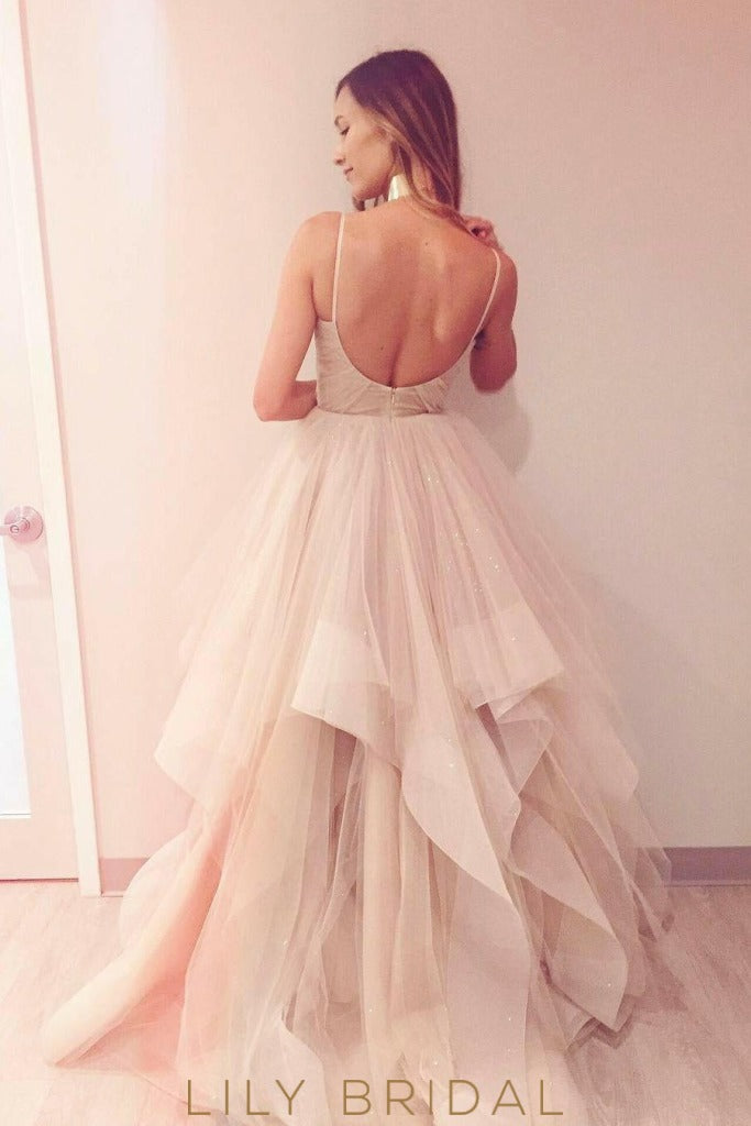 Ivory Wedding Dress Scoop Back Design V-Neckline with Tulle Bridal Ball Gown