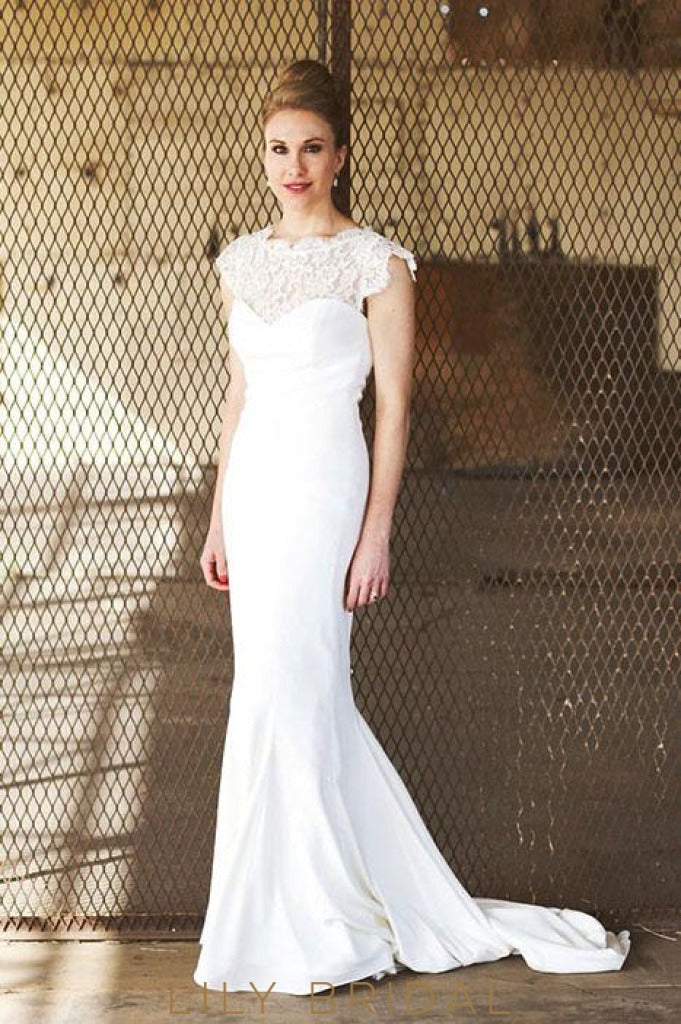 Vintage Satin Lace Sweetheart Neckline Mermaid Silhouette with Cap Sleeves