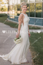 Vintage Scoop Neck Sleeveless Open Back Long Solid Stretch Wedding Dress With Sweep Train Dresses