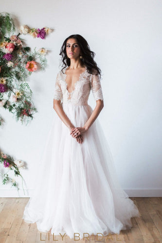Boho Illusion Lace Plunging V-Neckline Tulle Wedding Dress with Elbow Sleeve